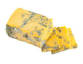 Yellow dor blue cheese isolated on white background — Stock Photo