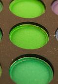 Green eye shadows macro — Stock Photo