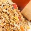 Delicious and healthy wholegrain muesli breakfast, with lots of - Stock Photo