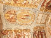 Antique ceiling fresco with saints- monastery (Russia, Tikhvin — Stock Photo