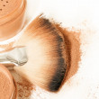 Face powder and brush — Stock Photo