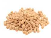 Pile of granules Wheat Bran background. Food for horses and far — Stock Photo