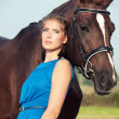 Portrait of beautiful girl with horse — Stock Photo