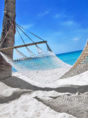 Hammock at the tropical beach — Stock Photo