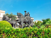 Statue of carriage spanish horses in Jerez da la Frontera. Andal — Stock Photo