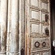 Entrance door in Church of Holy Sepulcher. close up — Stock Photo