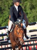 SAINT PETERSBURG-JULY 05: Rider Valdemaras Zukauskas on Domien — Stock Photo