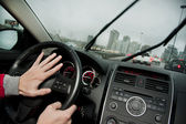 Angry driver honking on the highway — Stock Photo
