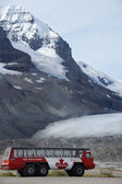 Explorer bus with Athabasca Glacier in the background — Stock Photo