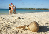 Cuban handmade rattle on a sand — Stock Photo