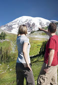 Tourists at Mount Rainier — Stock Photo