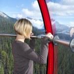 Admiring the views from Peak 2 Peak Gondola — Stock Photo