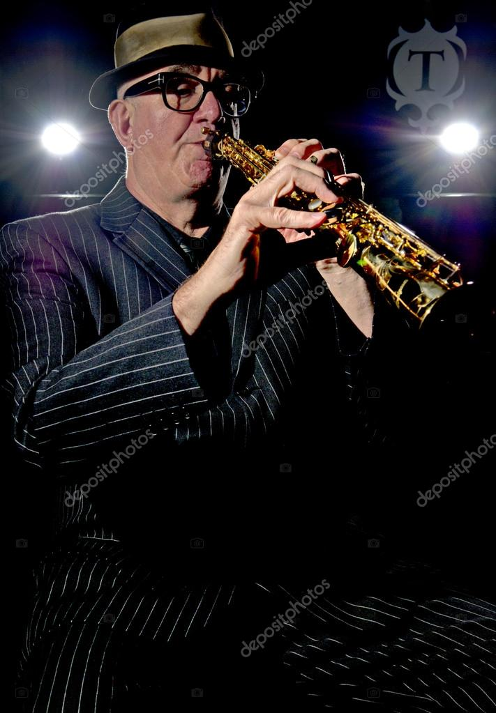 Musician Bob Swift playing the soprano saxophone during a gig at the Greystones with his four-piece rhythm &amp; blues band &quot;The Hummingbirds&quot; in Sheffield, March 23 2012  Stock Photo #12940927