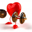 3D body building heart who lifts weights — Stock Video