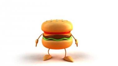 Cartoon hamburger jumping — Stock Video