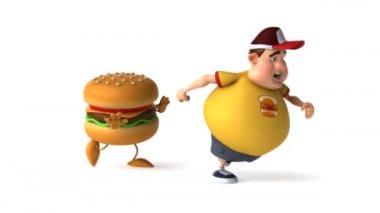 Hamburger and kid — Stock Video