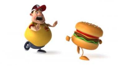 Kid and hamburger — Stock Video