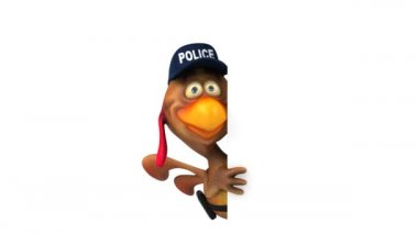 Chicken police officer — Stock Video
