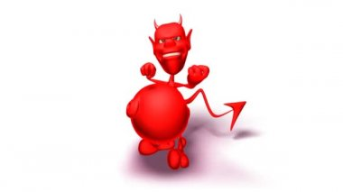 Devil giving the finger (on a white background) — Stock Video