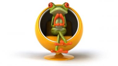 Frog in a design chair — Stock Video #12683027