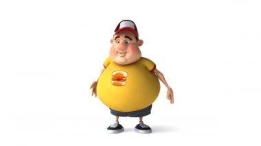 Fat kid and hamburgers — Stock Video