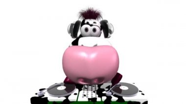 Cute DJ Cow — Stock Video #12684313