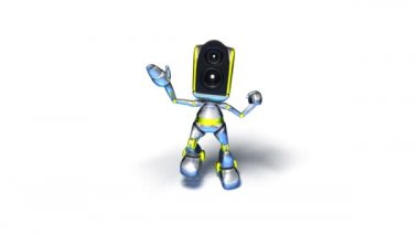Robot Dancing to techno (loopable with alpha channel) — ストックビデオ