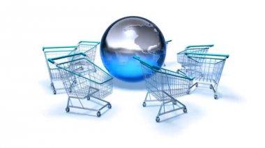 Wózki sklepowe na świecie — Wideo stockowe