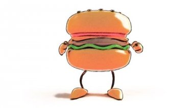 Cartoon hamburger dancing — Stock Video