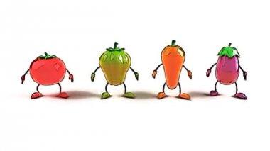 Cartoon vegetables jumping — Stock Video