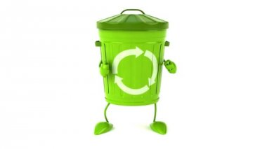 Green trash can dancing