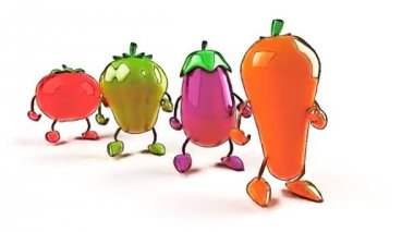 Cartoon vegetables walking — Stock Video
