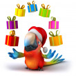 Santa parrot - Stock Photo