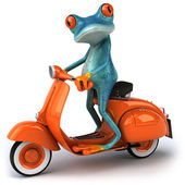 Frog on a scooter — Stock Photo