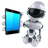 Robot with a mobile phone — Stock Photo