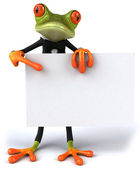 Business frog with a sign — Stock Photo