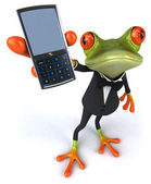 Frog with a mobile phone — Stock Photo