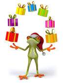 New year frog with presents — Stock Photo