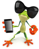 Frog with a mobile phone 3D — ストック写真