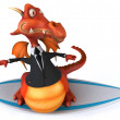 Dragon on a surfboard — Stock Photo