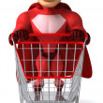 Superhero with shopping cart — Stock Photo