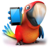 Fun parrot with smartphone — Stock Photo