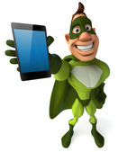 Green superhero with mobile phone — Stock Photo
