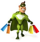 Superheld Holding Einkaufstaschen — Stockfoto
