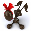 Fun easter chocolate rabbit — Stock Photo
