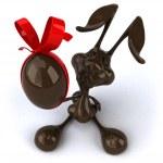 Fun easter chocolate rabbit — Stock Photo