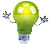 Green light bulb — Stock Photo