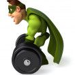 Super man with barbell - Stock Photo