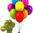 Crocodile with colorful balloons — Stock Photo #26346275