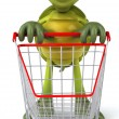 Stock Photo: Turtle with shopping cart 3d illustration